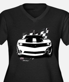 Drag Racing Women's Plus Size V-Neck Dark T-Shirt