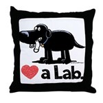 Love a Lab (Black) - Throw Pillow