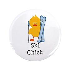 """Ski Chick 3.5"""" Button"""