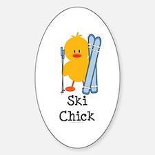 Ski Chick Oval Stickers