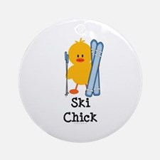 Ski Chick Ornament (Round)