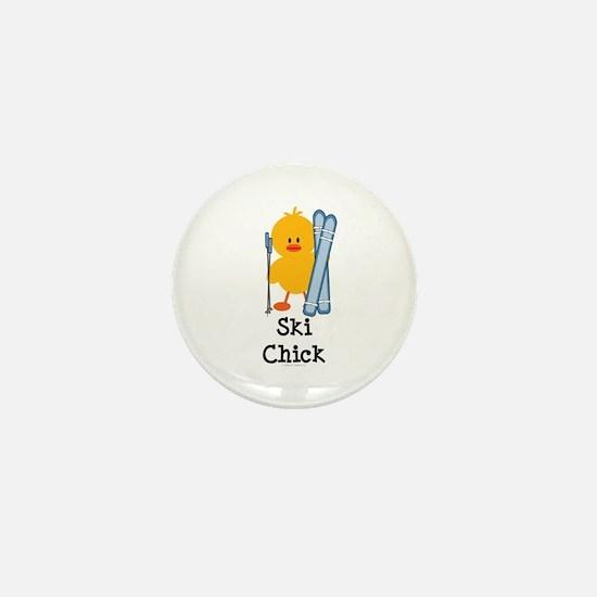 Ski Chick Mini Button
