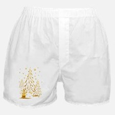 Gold Snowman and Christmas Tr Boxer Shorts
