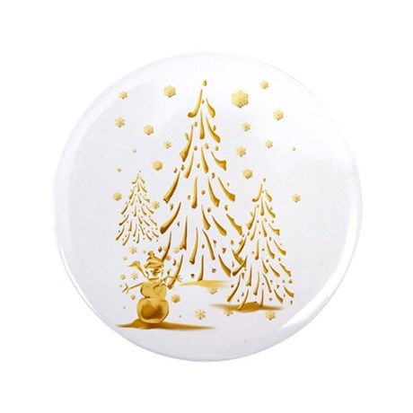 """Gold Snowman and Christmas Tr 3.5"""" Button (100 pac"""