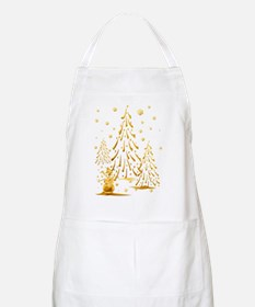 Gold Snowman and Christmas Tr Apron