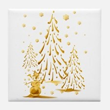 Gold Snowman and Christmas Tr Tile Coaster