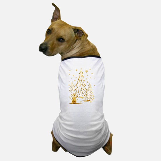 Gold Snowman and Christmas Tr Dog T-Shirt