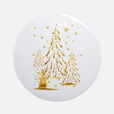 Gold Snowman and Christmas Tr Ornament (Round)