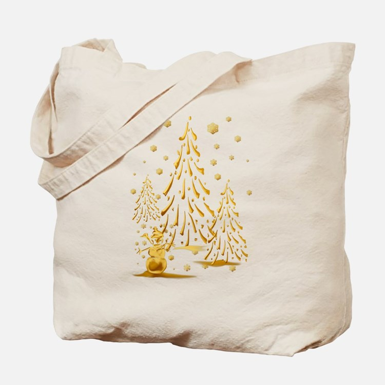 Gold Snowman and Christmas Tr Tote Bag
