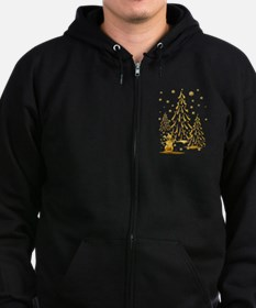 Gold Snowman and Christmas Tr Zip Hoodie