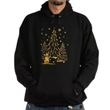 Gold Snowman and Christmas Tr Hoodie
