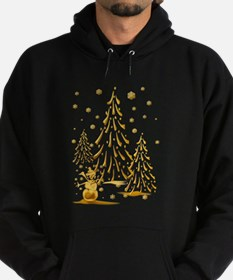 Gold Snowman and Christmas Tr Hoodie (dark)