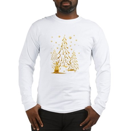 Gold Snowman and Christmas Tr Long Sleeve T-Shirt