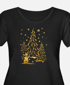 Gold Snowman and Christmas Tr T