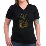 Christmas Womens V-Neck T-shirts (Dark)