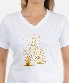 Gold Snowman and Christmas Tr Shirt