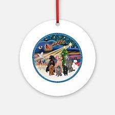 XmasMagic-6 Poodles Ornament (Round)