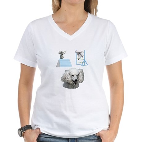 Run Poodle Run Women's V-Neck T-Shirt