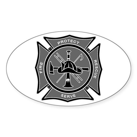 Firefighter Maltese Cross Sticker (Oval)