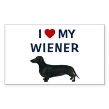 I (HEART) MY WIENER Rectangle Decal