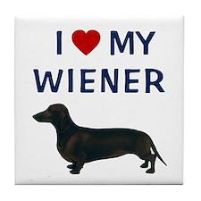 I (HEART) MY WIENER Tile Coaster