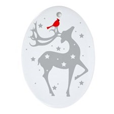 Winter Reindeer Oval Ornament