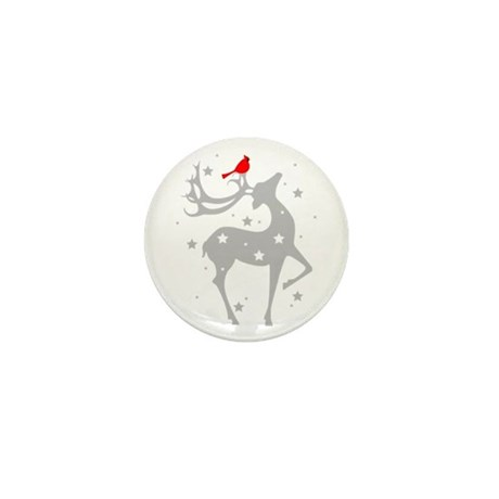 Winter Reindeer Mini Button