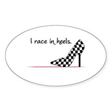 Race In Heels Oval Decal