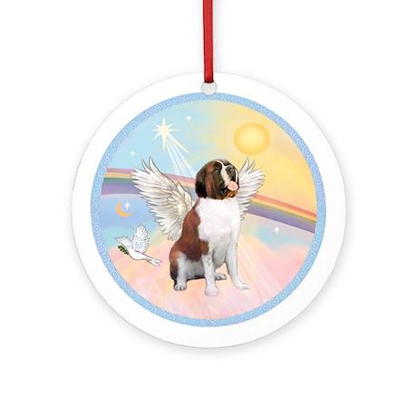 St. Bernard Angel Dog Ornament (Round)
