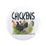 "Chickens Taste Good! 3.5"" Button"