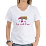 Love my log truck driver Women's V-Neck T-Shirt