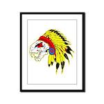 Skull Indian Headdress Framed Panel Print