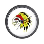 Skull Indian Headdress Wall Clock