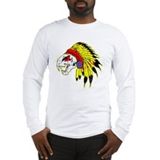 Skull Indian Headdress Long Sleeve T-Shirt