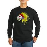Skull Indian Headdress Long Sleeve Dark T-Shirt