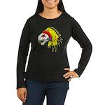 Skull Indian Headdress Women's Long Sleeve Dark T-