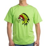 Skull Indian Headdress Green T-Shirt