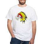 Skull Indian Headdress White T-Shirt