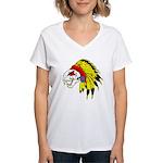 Skull Indian Headdress Women's V-Neck T-Shirt
