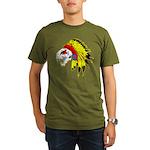 Skull Indian Headdress Organic Men's T-Shirt (dark