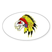 Skull Indian Headdress Oval Decal