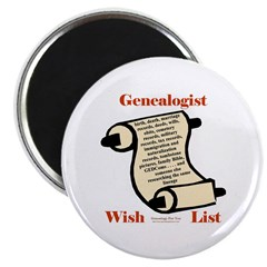 Genealogy Wish List Magnet