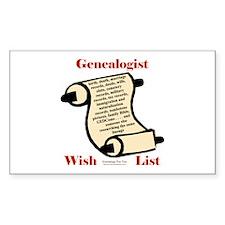 Genealogy Wish List Rectangle Bumper Stickers