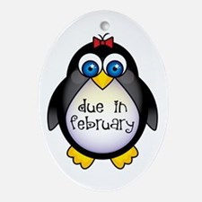February Penguin Maternity Oval Ornament