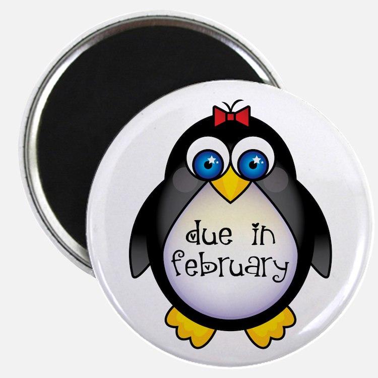 February Penguin Maternity Magnet
