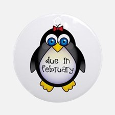 February Penguin Maternity Ornament (Round)