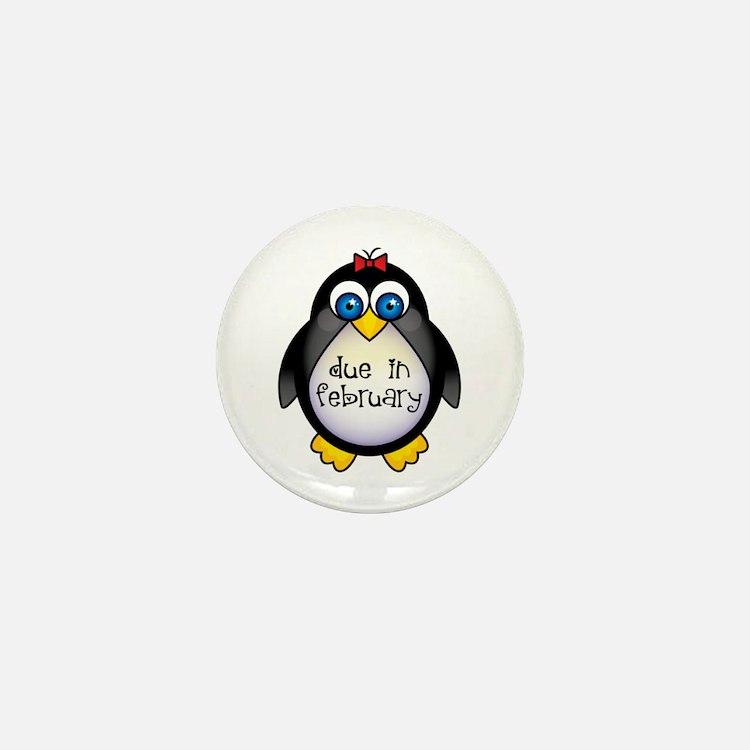 February Penguin Maternity Mini Button