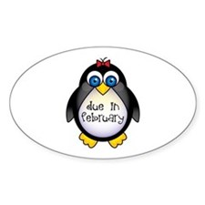 February Penguin Maternity Oval Decal