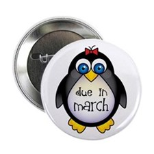 "Cute March Penguin Due Date 2.25"" Button"