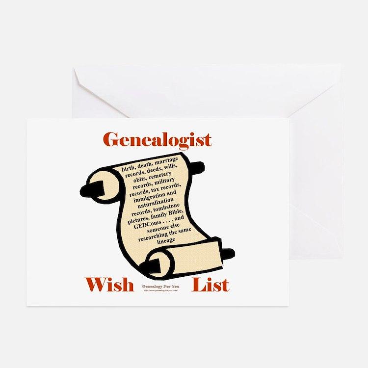 Genealogy Wish List Greeting Cards (Pk of 10)
